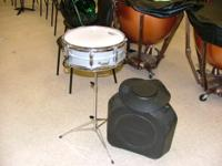 Ludwig intermediate snare drum with cover, case and