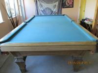 Slate top Olympic Snooker pool table with 9 pool cues,