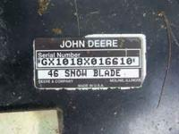 Up for sale John Deere snow blade 46 inch for garden