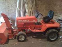"16HP GRAVERLY RIDING TRACTOR WITH 48"" SNOW BLOWER AND"