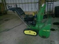 used JD TRX26 snowblower, elect start, runs good $500.