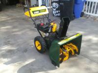 "Lawn man SNOW BLOWER 7hp 24"" runs great electric"