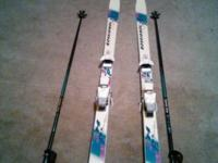 Both left and right snow ski's rossignol 3 hpl across