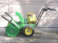 "John Deere 826 Snowblower, it makes a 26"" wide pass"
