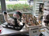 Lots of Christmas Snowmen in plush, wood, metal,