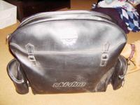 USED LEATHER SKI DOO SNOWMOBILE BAG WITH 2 SIDE POCKETS