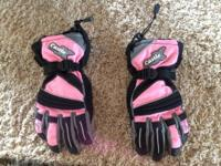 Women's Snowmobile Gloves  -pink accents -great