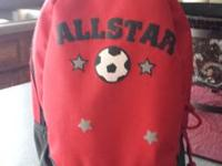 "Small red kids ""Allstar"" soccer backpack. Zipper"