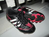 -ADIDAS Puntero Soccer Cleats; black/red/white; size