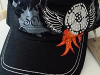 SOCCER Hat with Angel Wings. Embroidered. Distressed