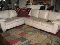 leather sofa cream color, L shaped 3+ 3 seater, good in