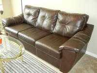 Branson II leather sofa. Features: The rich brown