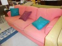 NICE PEACH COLORED SOFA...JUST $80.00  STEPPING STONES