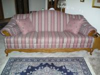 I have a sofa with custom fabric, 2 end tables, coffee