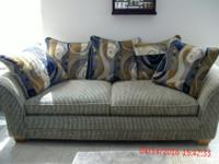 EIGHT FOOT LONG SOFA WITH PILLOWS, FABRIC IS TEFLON