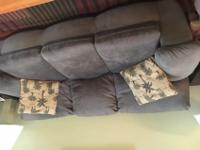 Microfiber Sofa: color sage green/gray. Super comfy and