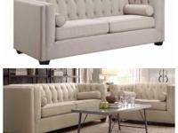 linen off white tuft Sofa and Love Seat Set $1100 for