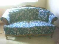 Great shape, little wear, oak trim. Blue multi fabric.