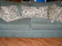Sofa and Loveseat Sage Green with 7 floral pillows,