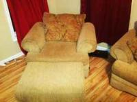 Large sofa and oversized chair with ottoman, nice