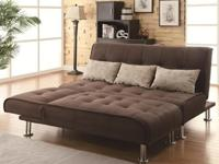 Chocolate Ultra Suede Sectional convert into Full Bed +