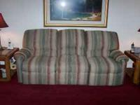 DUAL RECLINING SOFA 87'' LONG X 34'' WIDE BEIGE, MAROON