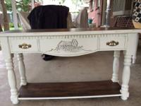 Refinished table, great detail on front, false front,