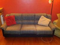 Comfortable 3-person sofa. Color dark blue/gray.