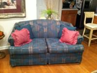 Type: Living Room Nice camel back teal, maroon with