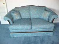 Trendline sofa & loveseat, medium to light blue, small
