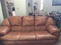 Very comfy camel brown leather sofa and matching