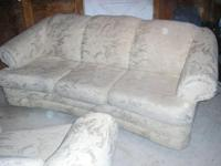 "Embossed-material Cream Sofa (90""L x 40""W) Good Cond."