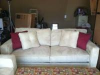 Microsuede sofa, loveseat and ottoman. Just married and