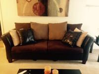 Perfect condition, Leather and Microfiber Sofa. Almost