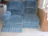 Blue love seat with recliner, very comfortable;part of