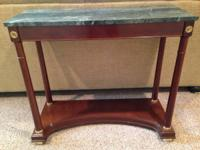 Bombay Cherry sofa table with green marble top. Great