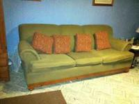 Sofa with pull out bed. Olive Green, clean excellent