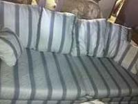 Light grey striped 6 foot sofa with matching chaise