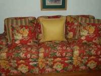 Red floral sofa and loveseat. Absolutey beautiful and