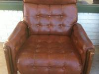 Soft dark brown leather reclining chair in perfect