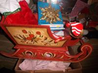 Sold Wood Christmas Sleigh , Sleigh Full  Of  Christmas