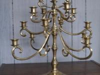 Heavy weight brass Candelabra has 4 Branches w/4