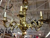 Solid Brass Six Light Chandelier By Beth Weissman.