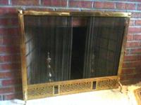 ? Estate Sale ? Solid Brass Fireplace Sliding Mesh