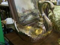 "Beautiful, polished brass swan. Measures 11.5""x5""x11."