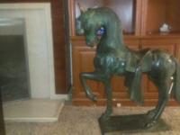 "37"" H 31"" L 12 "" W heavy solid bronze horse statue."