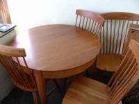 Beautiful solid red cedar round table and four