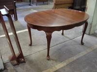 Solid cherry Queen Anne dining table with 2 leaves in
