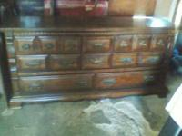 Beautiful Solid dark wood dresser... 8 drawers...come