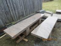 "(2) solid granite benches 1 @ 9.5' long x 24"" wide x 4"""